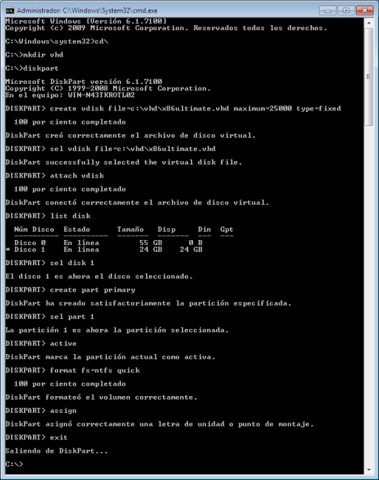 Pasos VHD Windows 7